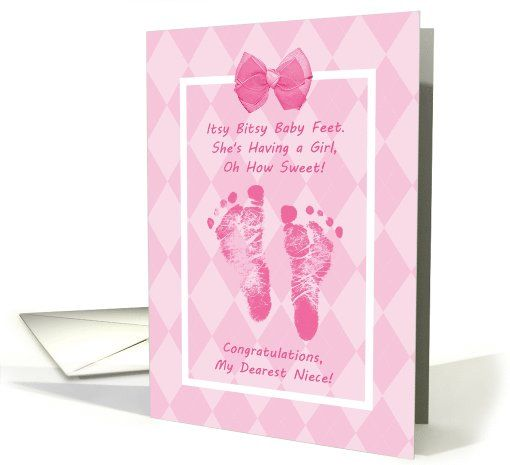 niece baby shower congratulations pink baby footprints card 1056751