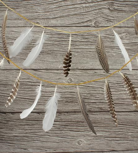 fun way to enjoy the beauty of nature - Feather Party Garland | by Wonderful Collective