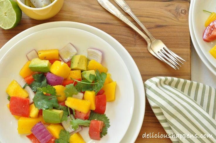 California Grilled Chicken Avocado And Mango Salad Recipe — Dishmaps