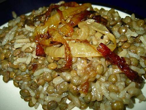 Lentils And Rice With Fried Onions (Mujadarrah) Recipe ...