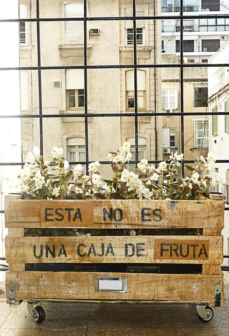 Caja de fruta reciclada a macetero rooftop garden - Macetero de madera ...