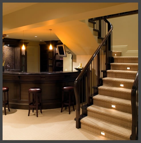 Basement love the lights in the stairs ideas for the for Basement step ideas