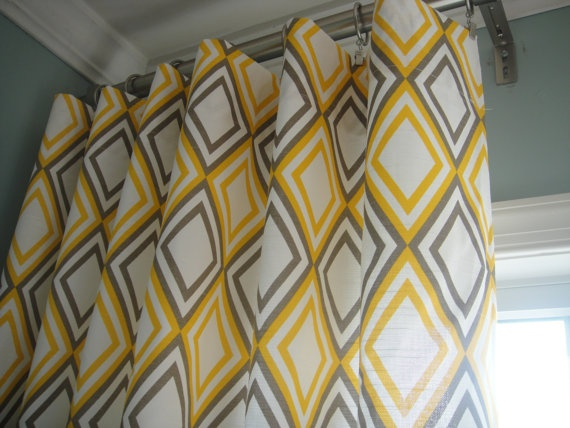 Yellow and gray curtain panels for the home pinterest
