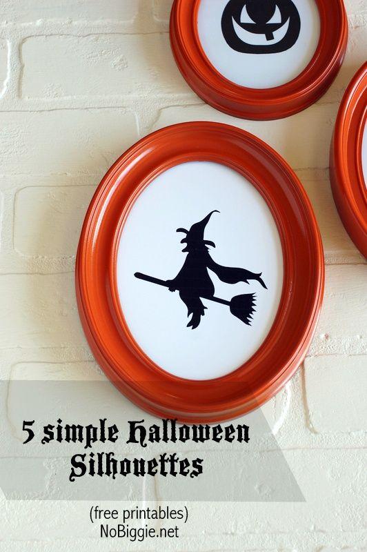 5 simple Halloween Silhouettes - free printables- NoBiggie.net