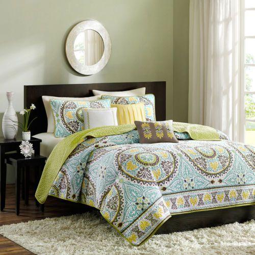 Microfiber Comforter Green Teal Brown Yellow Bedspread King Full Queen ...