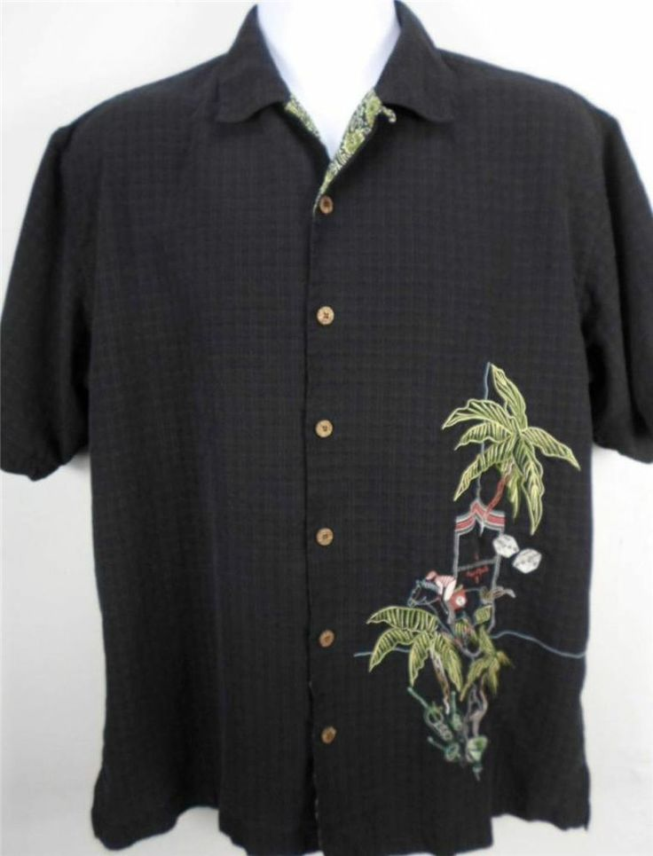 Tommy bahama shirt men 39 s king of sports button front black for Custom tommy bahama shirts