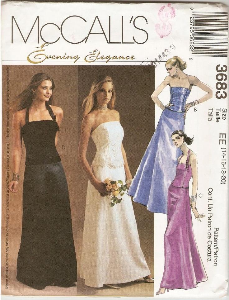 Mccalls 3683 formal evening wedding dress pattern 2 piece for Wedding dress patterns mccalls