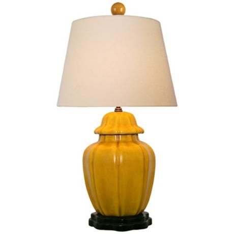 mustard yellow with beige empire shade porcelain table lamp. Black Bedroom Furniture Sets. Home Design Ideas