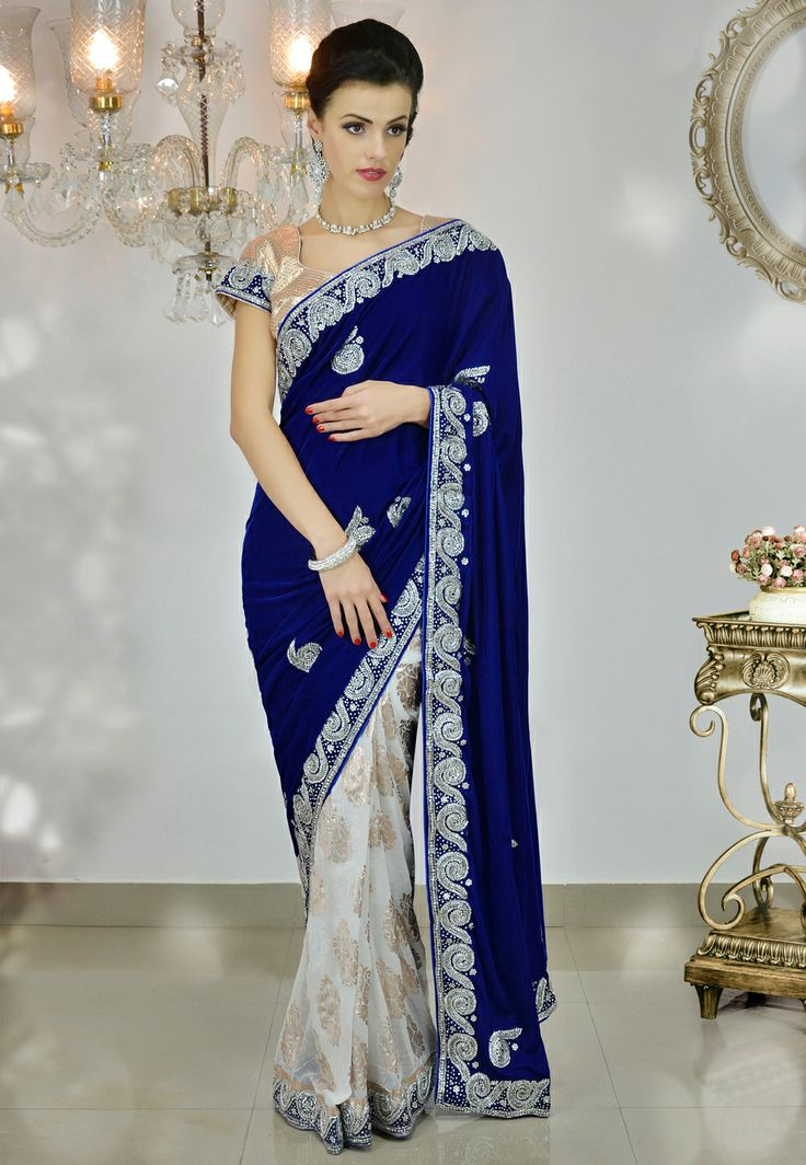 Blue velvet saree with blouse my style pinterest for Luxury fashion online