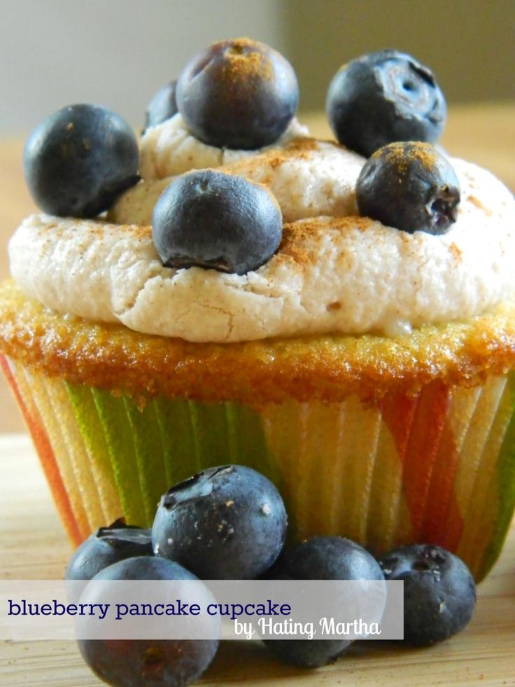 Blueberry Pancake Cupcakes. Blueberry vanilla cake with maple cream ...