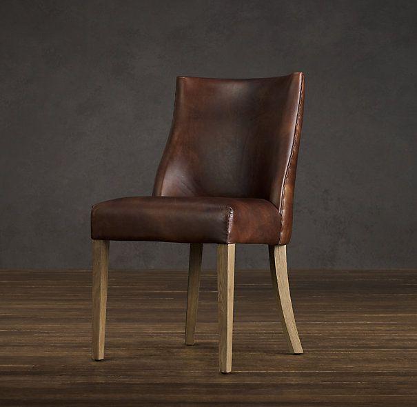 1940s french leather barrelback chair restoration hardware dark