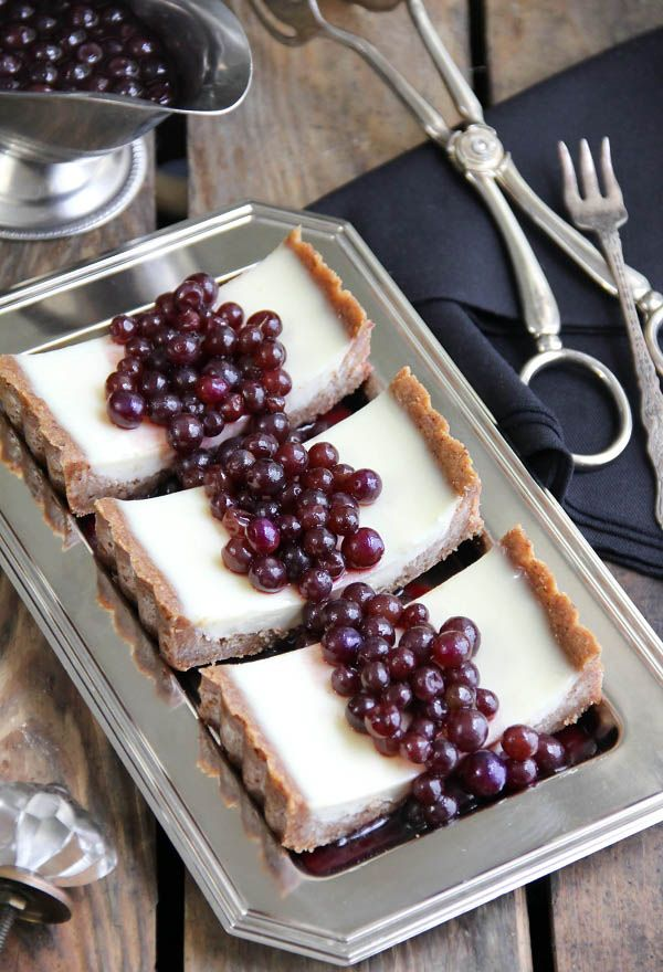 Panna Cotta tart with marinated table grapes and a pecan crust