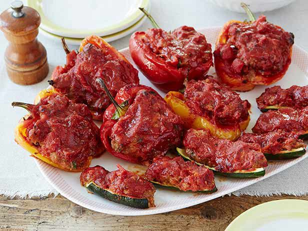 Stuffed Zucchini and Red Bell Peppers | Recipe