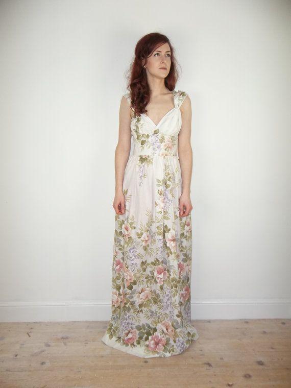 SAMPLE SALE Romantic Floral Grecian Maxi Dress Beach Wedding Dress UK