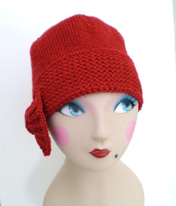 Knitting Pattern For Cloche Hat : PDF Pattern Women Knit Cloche Hat - Flapper Cloche Hat