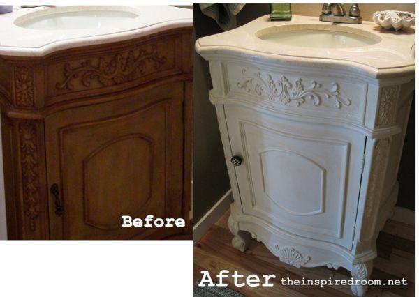 DIY Powder Room Vanity Before After