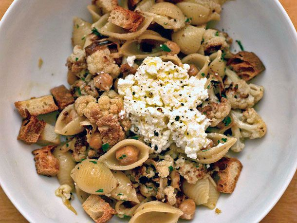 Pasta with Roasted Cauliflower, Chickpeas, and Ricotta