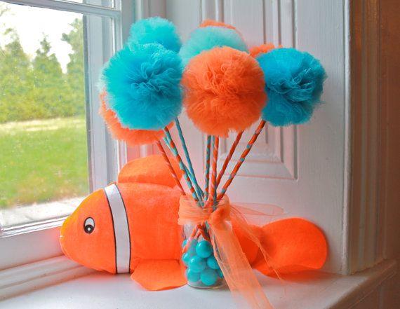 nemo inspired orange aqua pom pom favors centerpiece or decorations