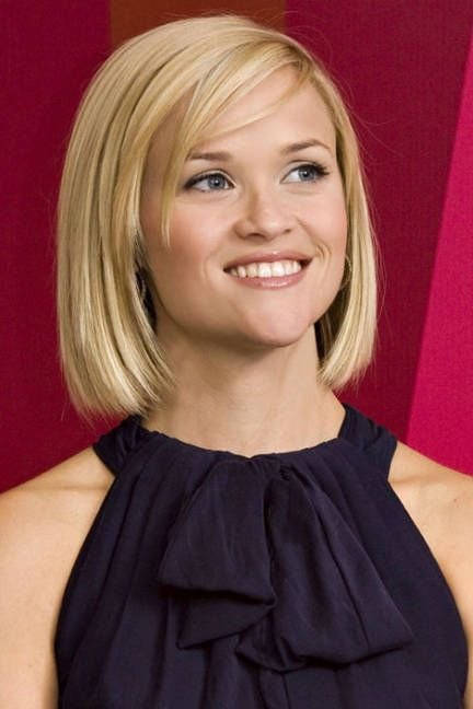 Reese Witherspoon Bob cut. Nice, classy cut recommended for strong chin (heart shaped face). Note length is below jawline to draw attention away from chin.
