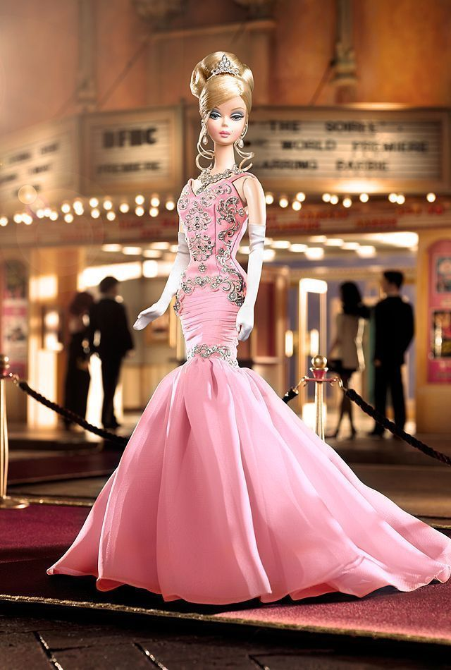 Pink soiree silkstone barbie platinum fashion model barbie mattel