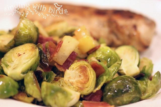 Roasted Brussel Sprouts, Bacon & Apples   Foooood.   Pinterest