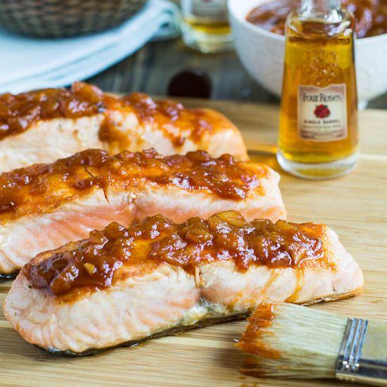 Salmon with Peach Bourbon BBQ Sauce