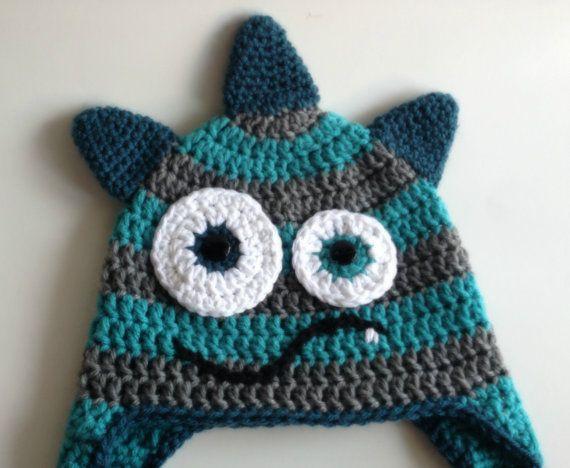 Crochet Monster Hat, Aqua & Gray