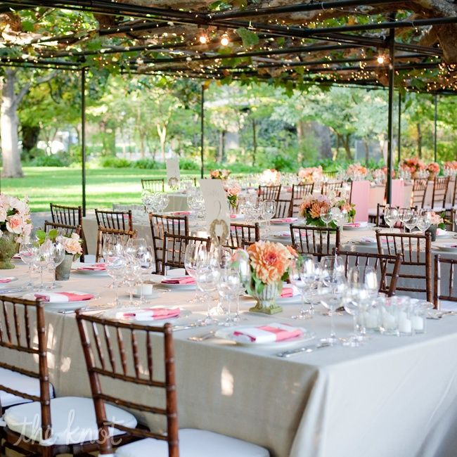Want Long Tables At The Reception With White Table Cloths, Brown Wooden Chairs, Candles All Over, Lights Overhead, & Amazing DIY Centerpieces :)