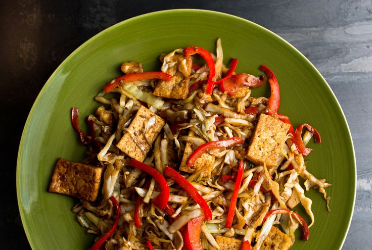 Stir-Fried Cabbage, Tofu and Red Pepper | Tofu Main Dishes | Pinterest