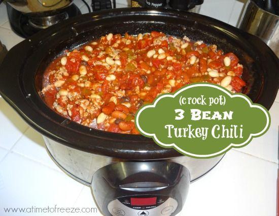 Bean Turkey Chili ~ A Time to Freeze #freezermeal #crockpot #chili