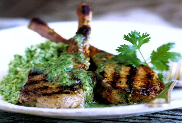 Lamb Chops With Cilantro-Mint Sauce Recipe — Dishmaps