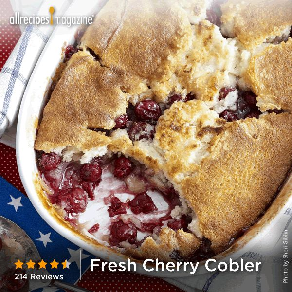 "Fresh Cherry Cobbler | ""This recipe was quick and easy! It was my ..."