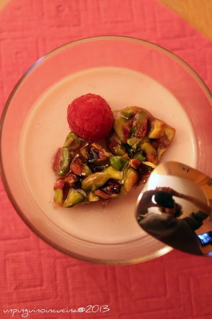 ... - Raspberry Panna Cotta with Slightly Salted Pistachio Nut Brittle