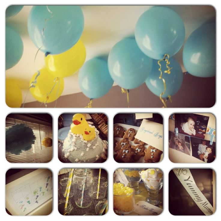 Boy baby shower from top then left to right- balloon ceiling, eBay pom ...