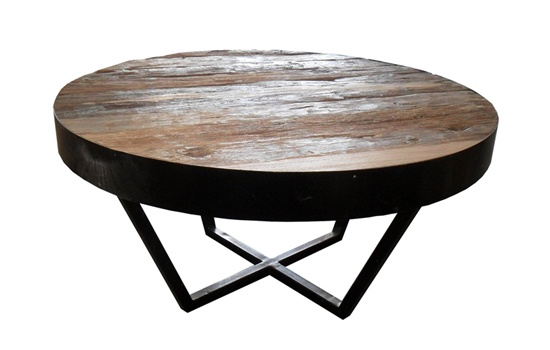 Round Rustic Reclaimed Teak Coffee Table With Metal Frame