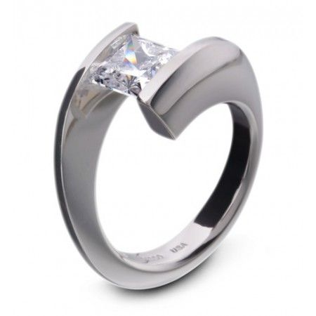 Steven Kretchmer Princess Cut Tension-Set Helix Ring, available from ...