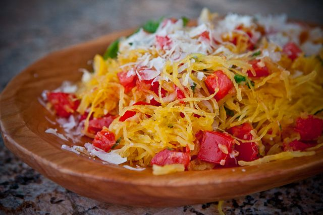MIcrowave Spaghetti Squash with Tomatoes and Basil Recipe | Steamy ...