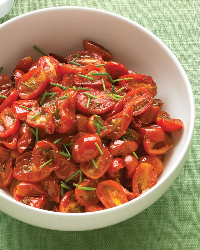 Oven-Roasted Grape Tomatoes with Chives would be great tossed with ...