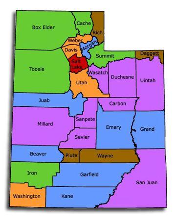 Utah State County Map  Utah  Pinterest