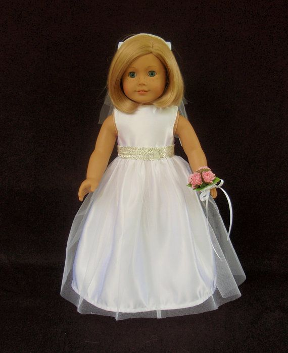 American girl doll clothes satin and tulle wedding gown for American girl wedding dress
