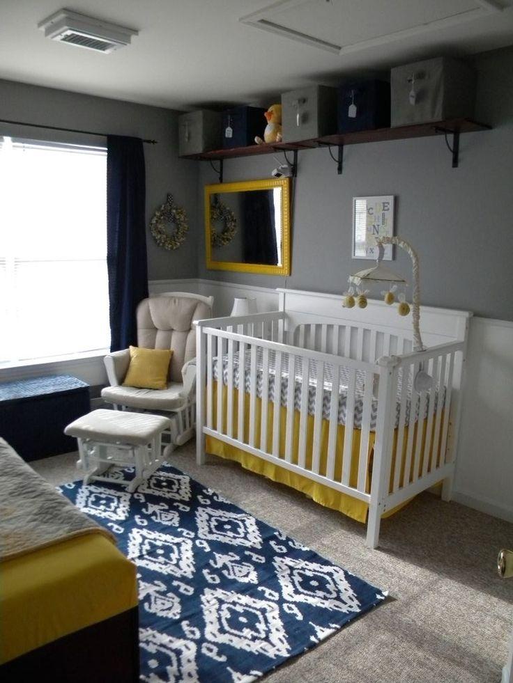 This navy ikat rug helps tie this whole nursery together. #nursery #love