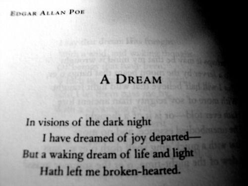 A Dream Edgar Allen Poe Words Pinterest