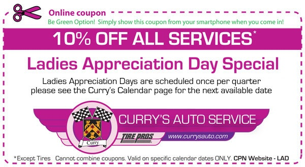 The next Ladies Appreciation Day is Wednesday, August 8th.  Schedule your appointment for this day, Ladies, to receive this discount!