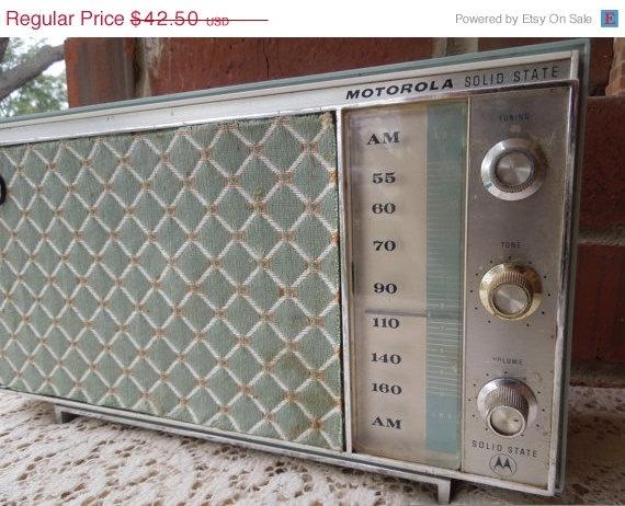ON SALE Vintage Mid Century Blue Motorola Radio. $27.63, via Etsy.