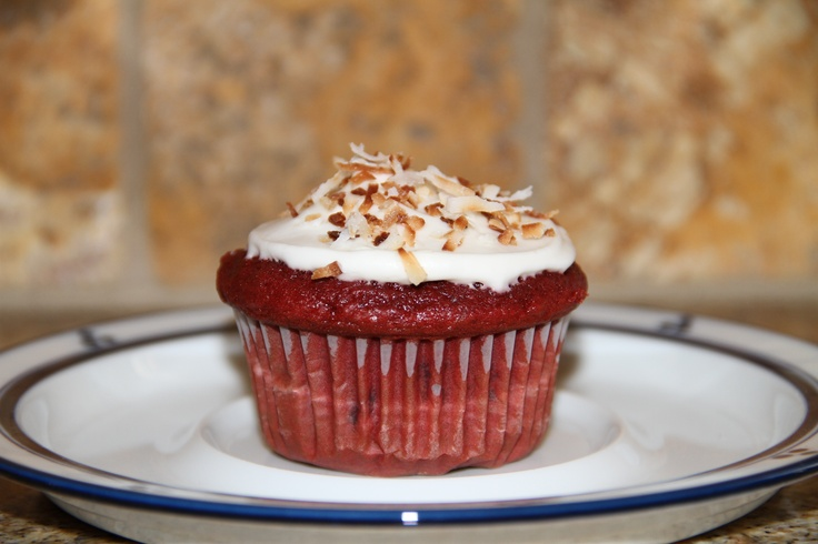 Red Velvet Cupcake with cream cheese frosting and toasted coconut ...