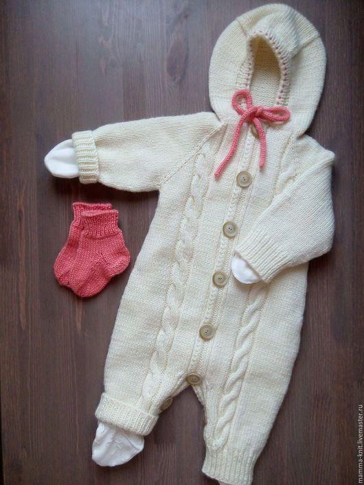 Вязание спицами на новорожденных девочек комбинезон 564