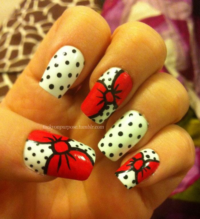 My hello kitty bow nail art    Nail Varnish   Pinterest