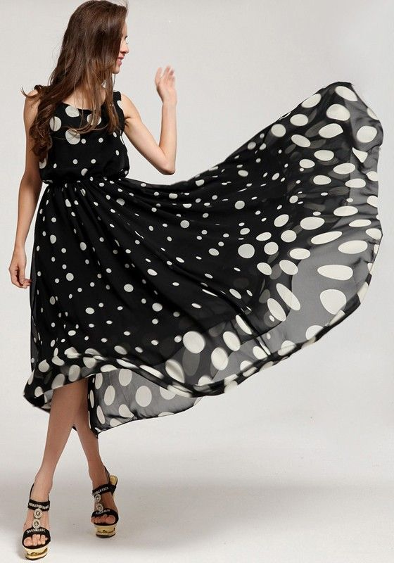 Thinking Spring! Gorgeous Black and White Polka Dot Round Neck Chiffon Maxi Dress