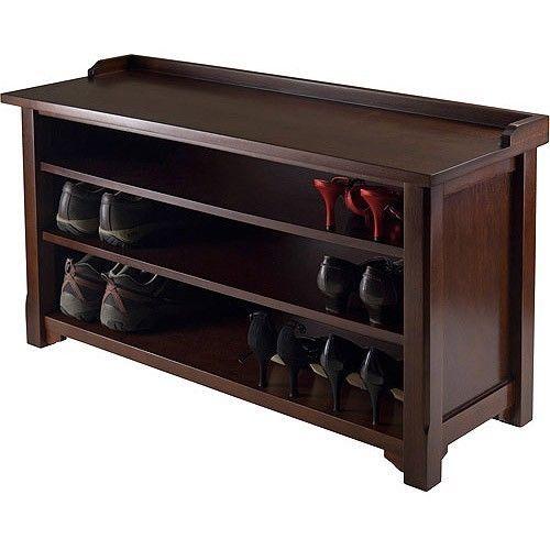 Entryway Shoe Storage Cabinet Bench Seat Hallway Furniture Elegant Or
