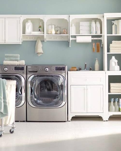 Shelves laundry room idea organization laundry room for Laundry room shelving